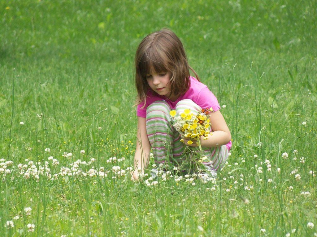 花を摘む少女=トイレお手洗い